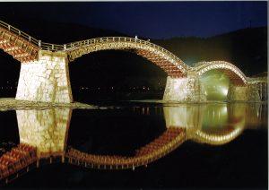 錦帯橋のライトアップ